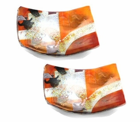 Red and Orange Mini Square Fused Glass Plate, Set of 2