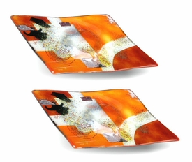 Red and Orange Small Square Fused Glass Plate, Set of 2