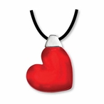 Red Heart Crystal Necklace with Silver Cap By Mats Jonasson
