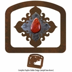 Red Jasper Stone Metal Napkin Holder
