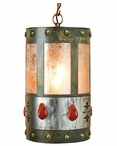 Red Jasper Stone Metal Round Pendant Light