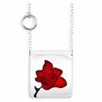 Red Rose Garden Crystal Necklace with Silver Cap By Mats Jonasson