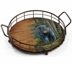 Rocky Outcrop Black Bear Metal and Wood Serving Trays, Set of 2