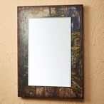 Rocky Outcrop Black Bear Scenic Wall Mirror with Wood Frame