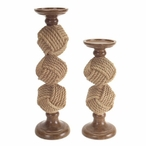 Rope Ball Pillar Candle Holders, Set of 2