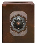 Round Copper Concho Metal Boutique Tissue Box Cover