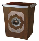 Round Copper Concho Metal Wastebasket Trash Can