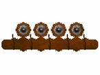 Round Copper Concho Scenic Five Hook Metal Wall Coat Rack
