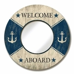 Round Mirror with Boat Welcome Aboard Vintage Style Wooden Sign Frame