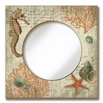 Round Mirror with Seahorse & Seashells Vintage Style Wooden Sign Frame