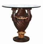 Round Polyresin End Table with Glass Top