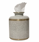 Round White Crackle Porcelain Tissue Box Covers, Set of 2