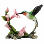 Ruby Throated Hummingbird with Flowers Bird Sculpture