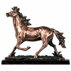 Running Horse Mustang Statue - Copper Finish