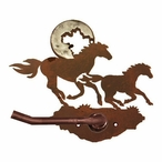 Burnished Running Horses Metal Toilet Paper Holder