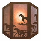 Running Wild Horses Three Panel Metal Wall Sconce