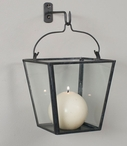 Rustic Brown Hanging Box Glass and Metal Candle Wall Sconce