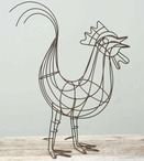 Rustic Brown Large Wire Rooster Bird Sculpture