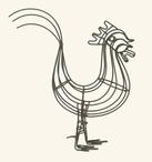 Rustic Brown Medium Wire Rooster Bird Sculpture