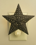 Rustic Brown Punched Western Star Metal Night Lights, Set of 6