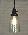 Rustic Brown Quart Open Bottom Mason Jar Pendant Lamp Light
