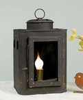 Rustic Brown Small Square Metal Electric Lantern