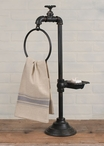 Rustic Brown Spigot Soap Dish and Hand Towel Holder