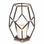 Rustic Open Design Metal Pillar Candle Holder with Glass, Set of 4
