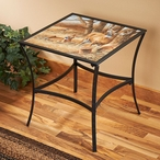 Rustic Retreat Deer Metal Accent Table with Glass Top
