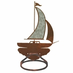 Burnished Sailboat Metal Bath Towel Ring