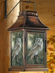 Screech Owl Bird Metal and Glass Candle Lantern