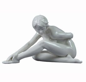 Sculpted Nude Female Glazed Porcelain Sculpture - 30104