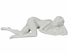 Sculpted Nude Female Glazed Porcelain Sculpture - 30106