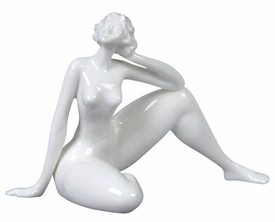 Sculpted Nude Female Glazed Porcelain Sculpture - 549