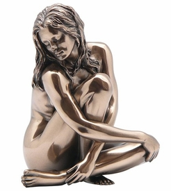 Sculpted Nude Female Holding Knee Sculpture
