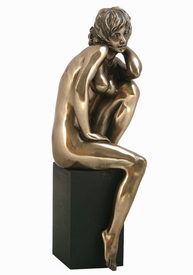 Sculpted Nude Female Sitting Sculpture - 387
