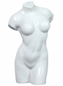 Sculpted Nude Female Torso Glazed Porcelain Sculpture - 064