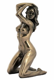 Sculpted Nude Female with Her Hands on Her Head Sculpture