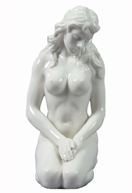 Sculpted Nude Woman Glazed Porcelain Sculpture - 30097