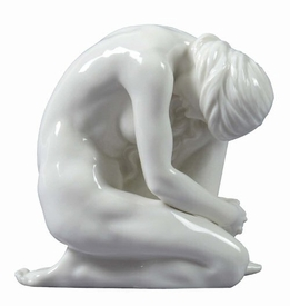 Sculpted Nude Woman Glazed Porcelain Sculpture - 30099