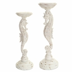 Sea Horse Pillar Candle Holders, Set of 2