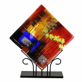 Shower of Color with Flowers Large Square Fused Glass Platter Charger