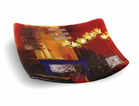Shower of Color with Flowers Medium Square Fused Glass Plate