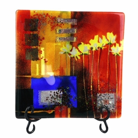 Shower of Color with Flowers Medium Square Fused Glass Platter Charger