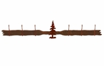 Single Pine Tree Six Hook Metal Wall Coat Rack