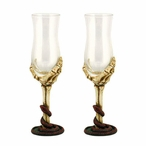 Skeleton Hand Dessert Wine Cordial Glasses, Set of 2