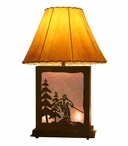 Skier Scenic Metal Table Lamp with Night Light