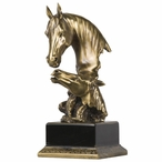 Small Horse Bust Statue - Brass Finish