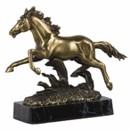 Small Running Horse Statue - Brass Finish
