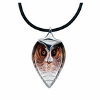 Small Strix Owl Bird Crystal Necklace By Mats Jonasson